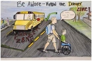 The winning poster in the National Association of Pupil Transportation's (NAPT) annual safety poster contest
