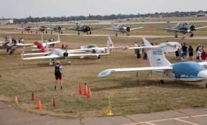 War birds preparing for take off during the air show at AirVenture 2012.