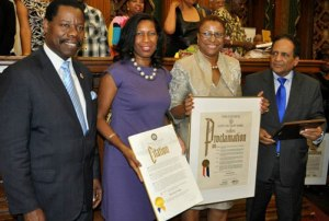NTSB's Beverly Drake (second from right) was honored during Brooklyn's Caribbean-American Heritage Month.