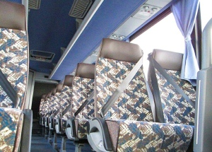Motorcoach seats with lap and shoulder seat belts