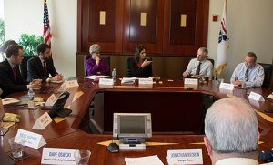Chairman Hersman participates in a media roundtable event held at the Transport Topics Editorial Board.