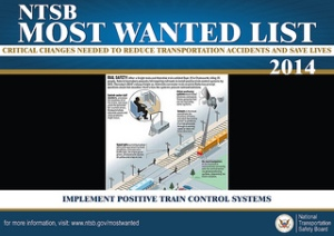 NTSB Most Wanted List 2014 - Implement Positive Train Control