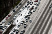 Traffic snarls in Atlanta due to wintery weather