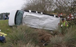Van involved in teh Lake City, FL accident (photo credit: FL Highway Patrol)