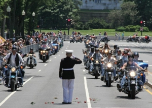 photo of Rolling Thunder being saluted.