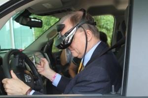 Member Sumwalt using a safe driving simulator