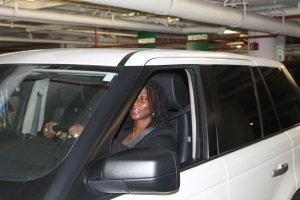 Joy White, Information Specialist at the NTSB, parks her vehicle before starting her day.