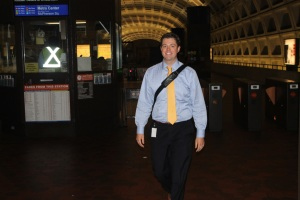 NTSB Government Affairs Specialist Will Cusey heads for the L'Enfant Escalator on his way into the office.