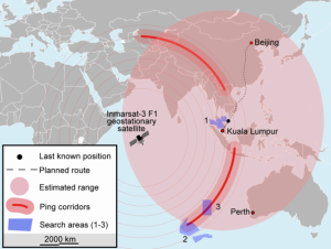 Map of theoretical search area for MH370. Source Wikimedia Commons user Soerfm