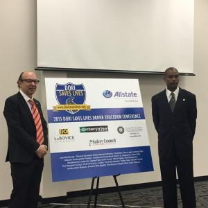 Nicholas Worrell and Florida Representative Irv Slosberg at the Dori Saves Lives & the Allstate Foundation's Driver Education Conference.  Representative Slosberg's daughter Dori was killed in a DUI crash in 1996.
