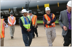 Chairman Christopher Hart touring the Greenbrier rail tank car facility at the Hockley & Greens Port facility