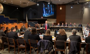 "NTSB Board Member Robert Sumwalt moderates roundtable on ""Disconnect from Deadly Distractions,"" held at the NTSB Boardroom and Conference Center."