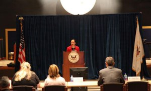 Vice Chairman Dinh-Zarr addresses attendees at NTSB's conference on Passenger and Family Assistance Operations