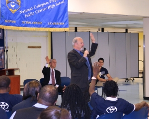Rob Molloy, Acting Director, Office of Highway Safety presents to students at the National Collegiate Prep School.