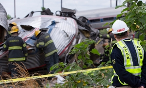 Member Robert Sumwalt on the scene of the Amtrak Train #188 Derailment in Philadelphia, PA