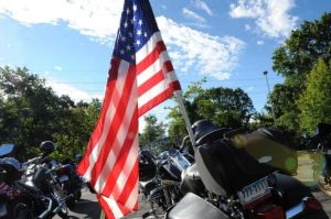Motorcycle with an American flag.
