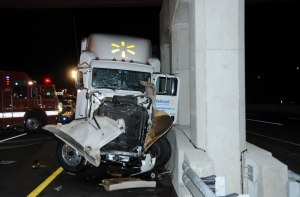 Damage to Walmart truck involved in the Cranbury, NJ accident.
