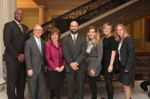 Member Sumwalt (2nd from left) joined AAA Northeast Public & Legislative Affairs Director Mary Maguire (3rd from left), BJ Williams (center) and Sarah Langenthal (3rd from right) - who both survived crashes with traumatic brain injuries - to testify in support of Massachusetts' Representative Garrett Bradley's H.B. 1187.  Also pictured are NTSB's Michael Hughes (far left), Stephanie Shaw (2nd from right) and Amy Terrone (far right).
