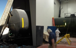 Photo of Tank car shoved through the bumping post (right), into the building, and through the back wall (left).