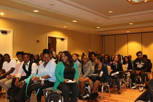 Presenting to Los Angeles public school students at National Black Caucus event.