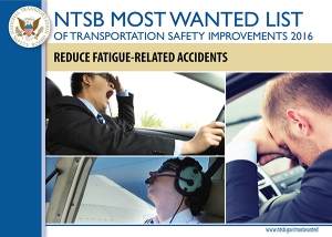 Reduce Fatugie-related Accidents Most Wanted List poster