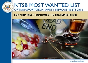 NTSB 2016 Most Wanted List issue image for End Substance Impairment in Transportation, image collage of drugs, alcohol, vehicles and dead end sign