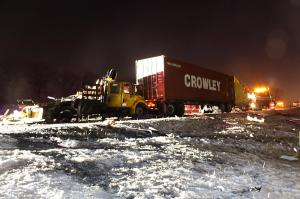 January 27, 2014, crash in Naperville, Illinois. Crash scene photo looking showing the vehicles at final rest. (Source: Illinois State Police)