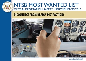 NTSB 2016 Most Wanted List image for issue: Disconnect from Deadly Distractions, photo collage of cell phone use, vehicle dashboard, airplane cockpit, ship bridge, train control