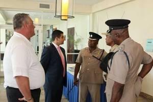 Esteban Salinas, IRF Director, Latin America & Caribbean, with members of Jamaica law enforcement.