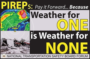 Graphic Logo for the Forum: PIREPs: Pay it Forward...Because Weather for One is Weather for None