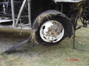 Image of right steer axle tire of the Sherman, TX, accident motorcoach