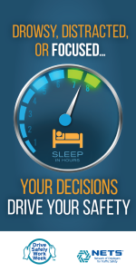 Poster encouraging drivers to get enough rest and not drive drowsy