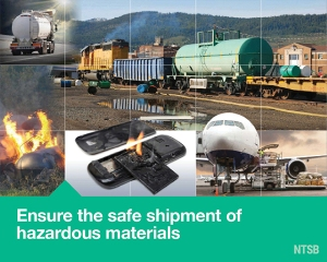 Poster image for Most Wated List issue area Ensure the Safe Shipment of Hazardous Materials