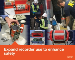 Mosaic image of data recorders for the Most Wanted List issue are Expand Recorder Use to Enhance Safety