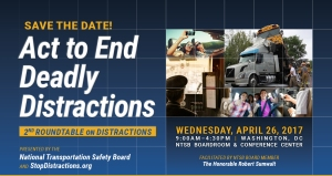 "Save the date card for the ""Act to End Deadly Distractions"" event"