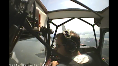 Images captured on the cockpit video during the testing of a video recording device in a Bellanca Citabria.