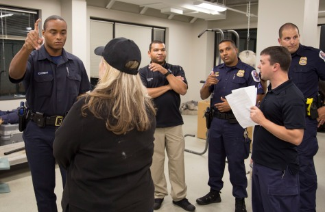 A law enforcement trainee conducts the SFST on a live subject that has consumed alcohol.