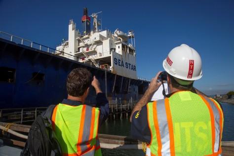 NTSB investigators about to board El Yunque - sister ship of El Faro