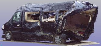 Three-dimensional scan of the Mercedes-Benz limo van involved in the June 7, 2014, crash in Cranbury, New Jersey.