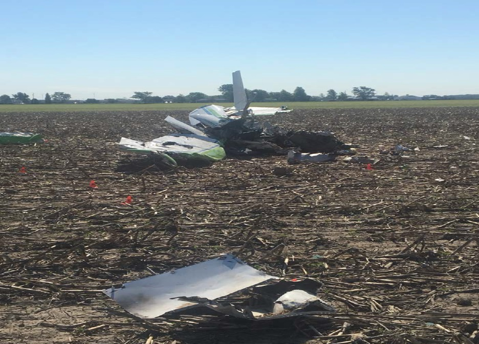 Image from June 1, 2017, airplane crash near Bowling Green, OH